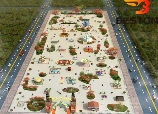 Aerial View Version Of Beston Amusement Park Design With Logo