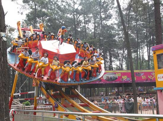 Disco rides in the amusement park