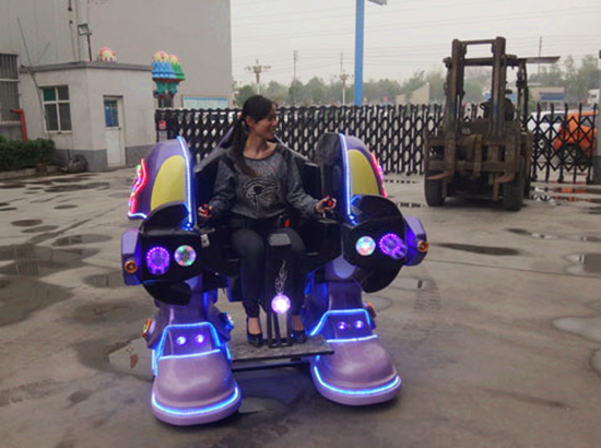 Our sales manager on the robot ride
