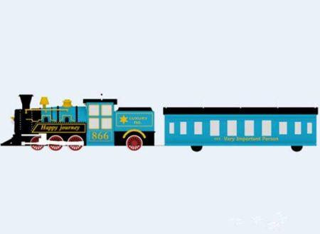 blue miniature train rides