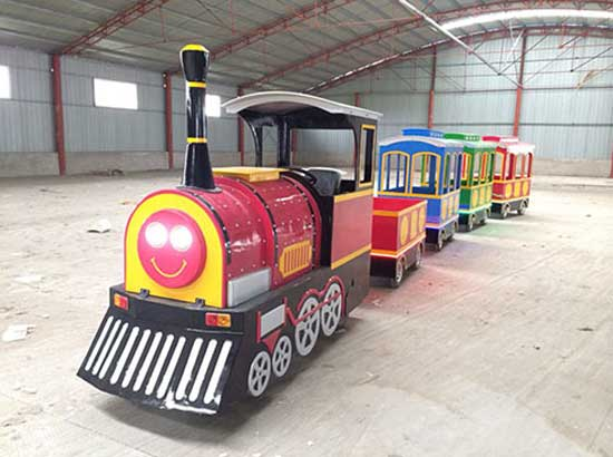 Trackless train rides for shopping centre use