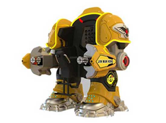 Yellow Coin Operated Robot Rides